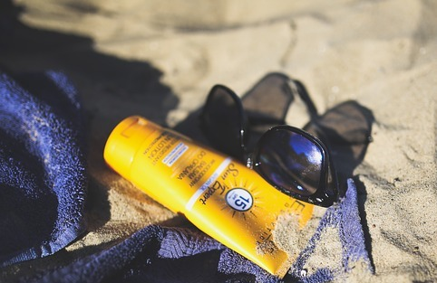 Sunscreen & sunglasses provide skin protection from the sun