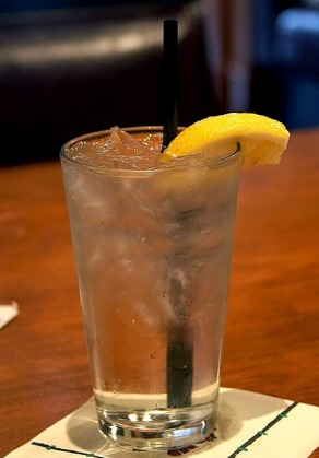 Glass of iced lemon water-Great for skin health